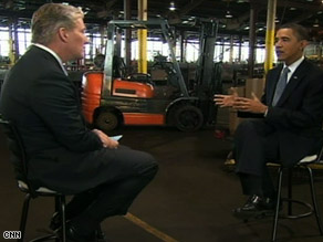 "Barack Obama tells CNN's John King that it was ""tough"" for him to request the additional bailout funds."