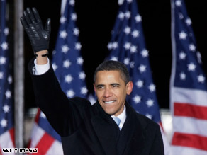 President-elect Barack Obama waves to supporters in Baltimore, Maryland, on Saturday.