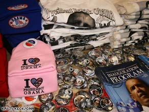 Hats, buttons and shirts are among the most popular items at the store where Vicki Starcher works.
