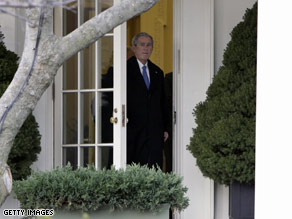President Bush walks out of the White House Oval Office on January 10.