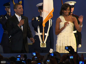 Michelle Obama, dressed in Jason Wu, and President Obama at the Home State Ball Tuesday night.