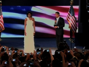 Michelle Obama, wearing a dress by designer Jason Wu, and President Barack Obama at the Neighborhood Ball.