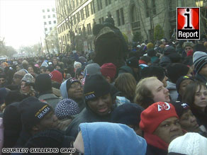 Thousands of spectators crammed the street outside one of the security gates at the ceremony Tuesday.