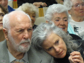 Stan Keller and his daughter, Nancy, watch the inauguration at the Jewish Home in Los Angeles.