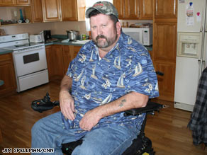 "Jeff Teasley, in his home in Cheyenne, Wyoming, hopes Obama is ""the best thing since running water."""