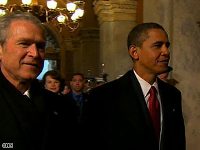 President Bush and Barack Obama arrive in the Capitol before the swearing-in ceremony.