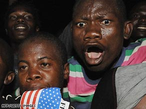 People celebrate in Kisumu, Kenya, following President Obama's inauguration