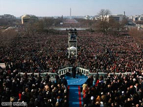 President Obama delivers his inaugural speech Tuesday before more than a million people.