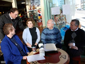 From left: Janet Anderson, Dicky Shanor, Cindy Hill, Jack Mueller, Ted Mueller are cautious about Barack Obama.