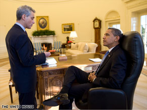 White House Chief of Staff Rahm Emanuel briefs U.S. President Barack Obama in the Oval Office.