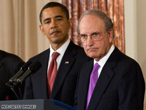 President Obama, left, with George Mitchell, right, who was named special Middle East envoy Thursday.