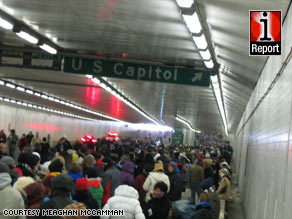 Meaghan McCamman photographed this Inauguration Day crowd stuck in an underground tunnel.