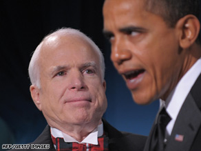 Barack Obama honors Sen. John McCain at a dinner on January 19 in Washington.