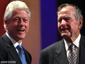 Former presidents and political rivals Bill Clinton and George H.W. Bush now share philanthropic efforts.