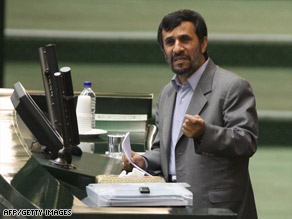"Iranian leader Mahmoud Ahmadinejad, seen Tuesday, said of the U.S. ""We will listen carefully to their words."""