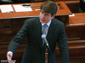 Illinois Gov. Rod Blagojevich delivers a closing argument at his impeachment trial Thursday.