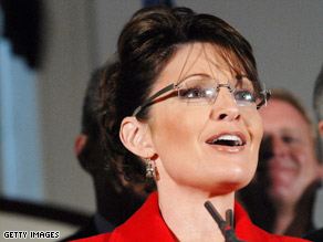 Alaska Governor Sarah Palin speaks at the meeting of the National Governor's Association in December.