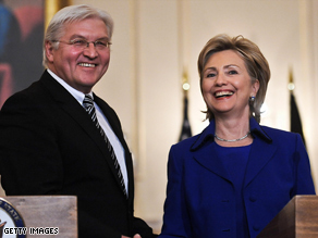 Secretary of State Hillary Clinton, right, meets Tuesday with German Foreign Minister Frank-Walter Steinmeier.