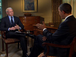 CNN's Anderson Cooper interviews President Obama at the White House on Tuesday.