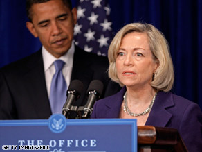 Nancy Killefer appears with then President-elect Obama at a news conference in early January.