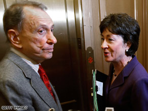 GOP Sens. Arlen Specter and Susan Collins leave a meeting Friday night in Sen. Harry Reid&#039;s office.