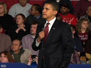 President Obama takes a question at a town hall in Elkhart, Indiana, earlier this year.