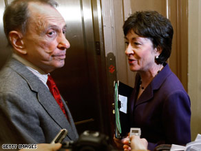 GOP Sens. Arlen Specter and Susan Collins are two of the three Republicans who voted for the stimulus bill.