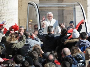 Pope Benedict XVI arrives in St. Peter's Square, Vatican City, on Wednesday.