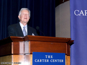 Former President Carter speaks at the Carter Center in 1999. The center is getting a $10 million renovation.
