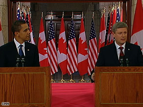 President Obama and Canadian Prime Minister Stephen Harper meet the media Thursday in Ottawa.