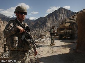 U.S. soliders patrol in Gandalabog province, Afghanistan.