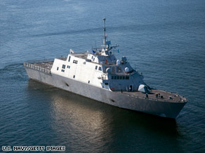 A Littoral combat ship is tested in July. The cost to build the ships more than doubled, according to a report.