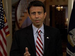 Louisiana Gov. Bobby Jindal gives the GOP response to President Obama&apos;s address Tuesday.