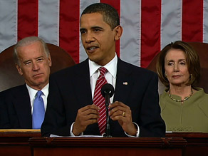 "President Obama tells the House and the Senate it is ""time to take charge of our future."""