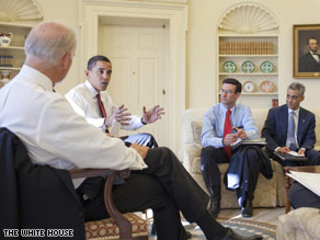 OMB Director Peter Orszag, to the right of President Obama, attends a meeting in the Oval Office.