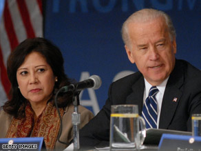 Vice President Joe Biden and Labor Secretary Hilda Solis appear at the meeting of the First Middle Class Task Force.