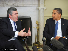 Prime Minister Gordon Brown and President Obama met in the Oval Office on Tuesday.
