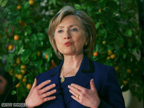Secretary of State Hillary Clinton speaks during a meeting Tuesday with Israeli Prime Minister Ehud Olmert.
