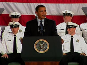 President Barack Obama speaks at a police academy graduation Friday in Columbus, Ohio.