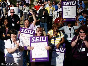 Workers rally in support of the Employee Free Choice act in Lafayette Square in Washington on Monday.