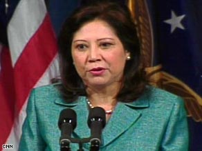 Labor Secretary Hilda Solis becomes the newest member of President Obama's Cabinet after being sworn in Friday.