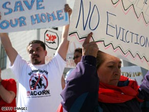 Campaigners in California fight against home foreclosures.