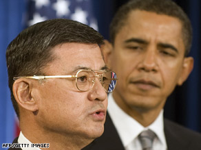 President Obama and Veterans Affairs Secretary Eric Shinseki, seen here last month, vow to increase aid.