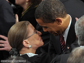 President Obama greets Justice Ruth Bader Ginsburg on her arrival for his February 24 address to Congress.