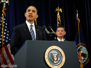 President Obama, with Veterans Affairs Secretary Eric Shineski, spoke with leaders of veterans groups Monday.