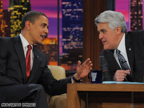 "President Obama chats it up with Jay Leno on ""The Tonight Show"" on Thursday."