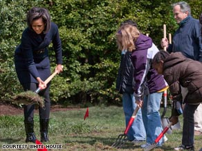 Washington's Bancroft Elementary School students help first lady Michelle Obama break ground on the garden.