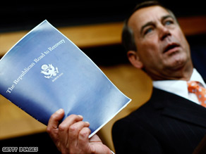 "Rep. John Boehner says President Obama's budget is ""completely irresponsible."""