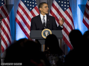 President Obama, here at a Washington fund-raiser Wednesday, hopes a new TV ad will buoy his initiatives.