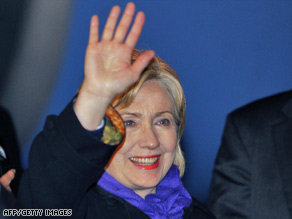 U.S. Secretary of State Hillary Clinton arrived in the Netherlands Monday for a conference on Afghanistan.